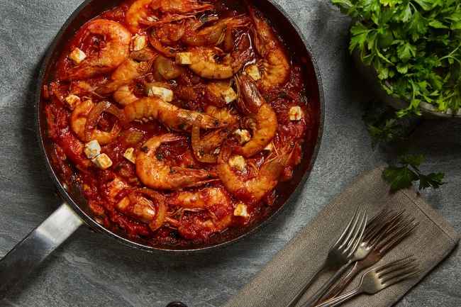 Shrimps saganaki with feta cheese